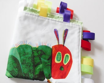 The Very Hungry Caterpillar Large Taggie Blanket Minky backet- Ready to Ship