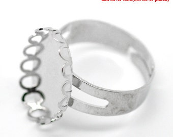 Silver Adjustable Rings - Antique Silver - Scalloped Edges - 18.3mm - 5pcs - Ships IMMEDIATELY from California - A281