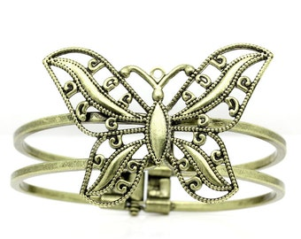 Bronze Butterfly Cuff - Antique Filigree  - 66x53mm Butterfly - Ships IMMEDIATELY  from California - A318