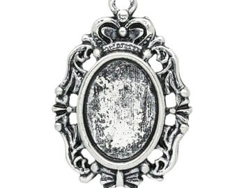 5 Silver Oval Pendants - Antique Silver - Cabochon Setting - Hollow Flower - 29x19mm - Ships IMMEDIATELY from California - SC987
