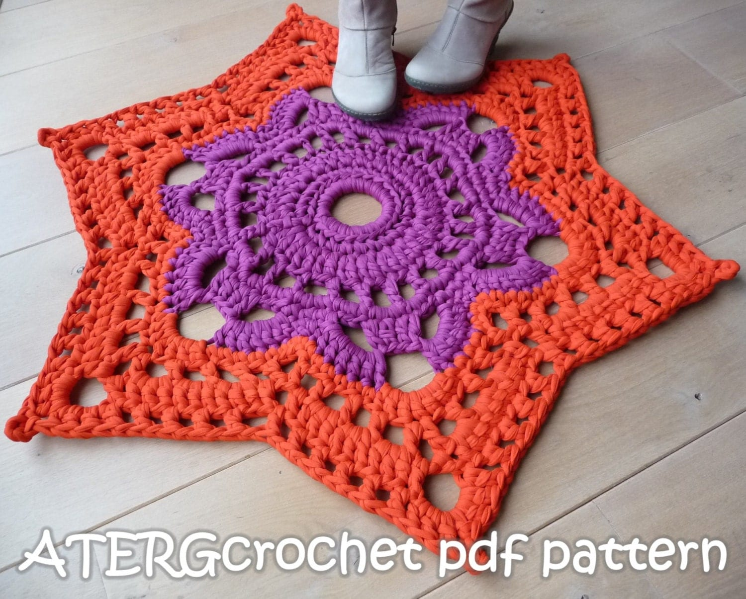 Crochet pattern STAR RUG by ATERGcrochet XL by ATERGcrochet