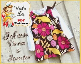 Joleen... Girl's A-line Jumper Pattern, Girl's Dress Pattern, pdf Dress Pattern, A-line Dress Pattern, Infant Pattern, Toddler Dress Pattern