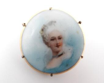Antique Victorian Porcelain Portrait Pin Brooch