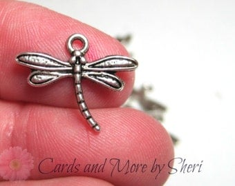 Silver Dragonfly Charms (10)