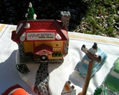Dept 56 Snow Village USED CARS 1980's Store Front and Three Cars