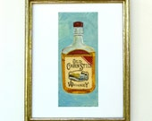 Whiskey Bar Cart Art in Vintage Style - Bar Decor 8 x 10 Print