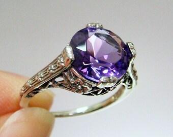 REDUCED!! Amethyst Filigree Sterling Silver .925 Ring