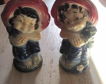 Royal Copley pair of vases farmer boy and girl