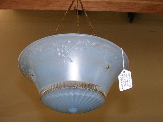 Items similar to 1930s art deco ceiling globe light blue for Repurposed light globes