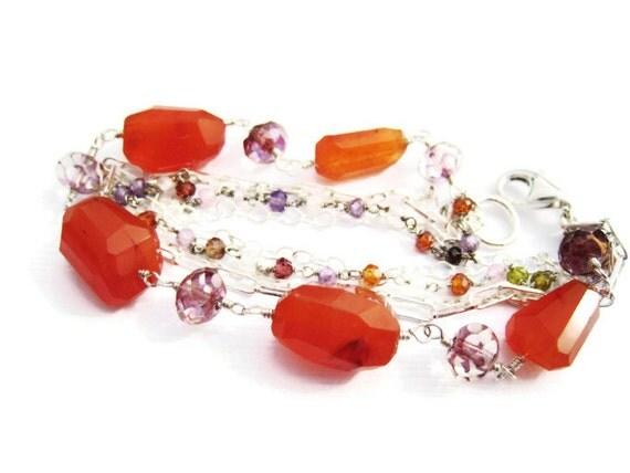 carnelian bracelet orange carnelian bracelet wire wrapped bracelet czech glass crystal bracelet multi strand bracelet OOAK summer gift idea
