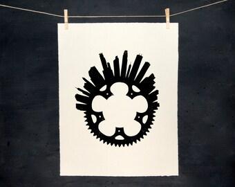 Bike Minneapolis - LINOCUT - Hand Pulled Print