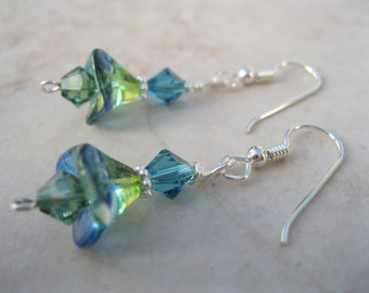 Blue an Green Swarovski Crystal Earrings with Petals Set In Sterling Silver