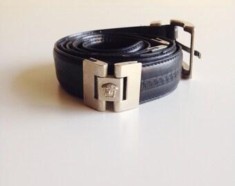 Vintage VERSACE Navy Leather Medusa Head Belt