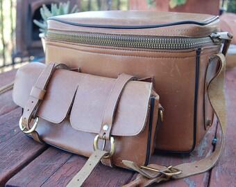 ELDING CALIFORNIA leather retro case old camera BAG suitcase travel satchel storage