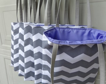 Reversible Tote Bag: Combo 6 Tote Bag Grey Chevron w/ Light Purple ( Ideal for Bridesmaid gifts )
