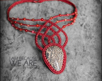 Mexican Jasper red Statement Macrame Necklace