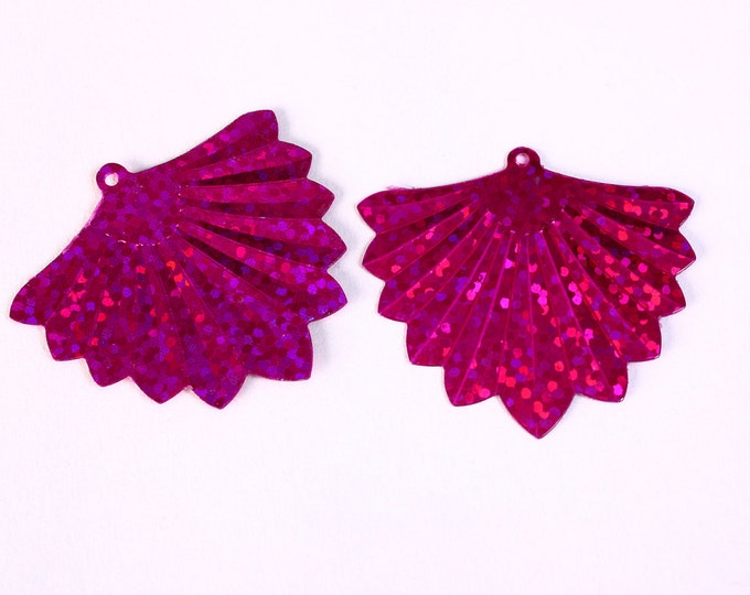 Dollar Sale Clearance - 22 fuchsia hot pink glitter fan pendant 37mm - with DEFECTS - 22 pieces (D003)