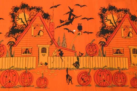 Halloween Crepe Paper Panel 1920s American Tissue Mills Holyoke Vintage Antique Witch Black Cat Goblin Haunted House Bats Free US Ship