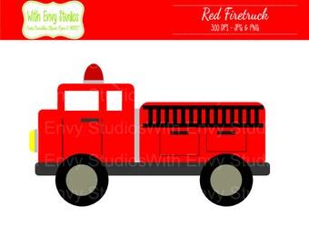 Firetruck Digital Clipart - Firetruck Clip Art - Firetruck Clipart