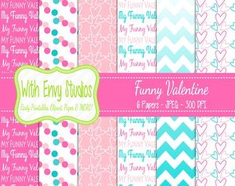 SALE   Valentines Day Digital Scrapbook Paper Pack - Valentine Scrapbook Paper Set - Pink Paper - Funny Valentine - Ombre Paper