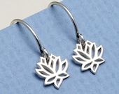 Lotus Flower Hoop Earrings, Sterling Silver, Silver Lotus Charm,Small,Tiny,Yoga, Gifts For Her, Blooming Flower