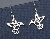 Silver Hummingbird Earrings,Sterling Silver, Hummingbird Charms,Bird Earrings,Silver Hummingbird,Woodland,Nature