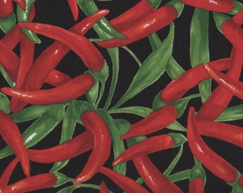 Chili Peppers, Fresh Picked by Moda, Vegetable Fabric, Garden Fabric, Red Pepper Fabric, 05005