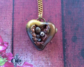 Steampunk Open Wounded Heart Pendant Necklace - Gold and Silver Embedded