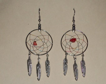 Handcrafted Red agate DreamCatcher Earrings