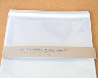 """100 Resealable Cello bags size 8 1/4""""x10 1/8"""" -Transparent Cello Bags -Self Adhesive Cello Bags -Food Safe Cello Bags -Clear Cellophane Bags"""