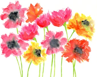 watercolor flower painting, watercolor flowers, watercolor flower art, flower nursery watercolor painting, flower print, summer print, 10X8