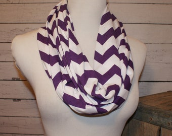 Sale Jersey Knit Purple and White Chevron Infinity Scarf Zig Zag Scarves Cancer Awareness Amy Anne Apparel