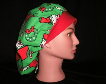 Hello Kitty Christmas bouffant scrub hat