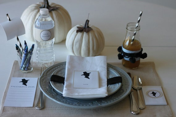 CUSTOMIZABLE PARTY COLLECTION -- Pilgrim Silhouette Thanksgiving Collection -- Mirabelle Creations