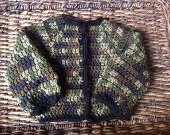 Crochet Camouflage Baby Sweater Jacket