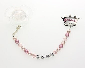 Personalized Name Blue Prince Pacifier Clip / Personalized Pink Princess Pacifier Clip