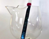 Fused Glass Swizzle Sticks - Tuxedo - White and Black with Red Accent - Cocktail Accessory