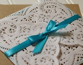 Rustic Chic Wedding Invitations: Unique Handmade Doily Paper Bag Kraft Paper Invites- Rustic Wedding. Shabby Chic Wedding. Custom.