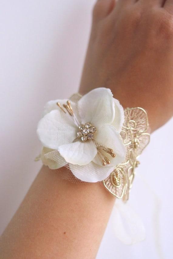 Bridal Flower Wrist Corsage Wedding Floral Bracelet By Belleblooms