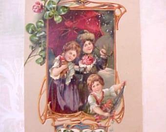 Beautiful Edwardian Era Postcard-Children in Snow-Jewel Toned Colors