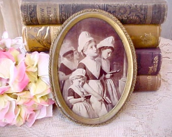 Darling Antique Sepia Colored Print of Little Dutch Girls in Church
