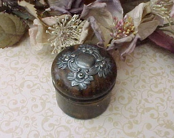 Most Charming Little Victorian Era Trinket Box with Silver Escutcheon with Roses