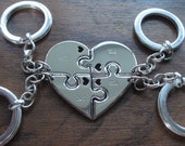 Four Piece Heart Best Friend Keyrings with Hearts