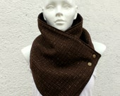 Vegan women scarf. Wide cowl, chocolate brown color. Chunky  and cozy.