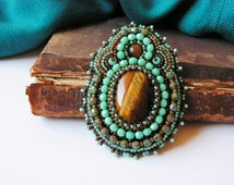 Bead embroidery Brooch Bead embroidered jewelry Tigers eye cabochons Turquoise Green Copper Brown Oriental jewelry MADE TO ORDER