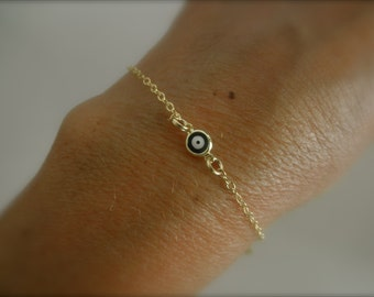 Blue evil eye  gold-filled chain bracelet