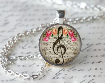 GClef Necklace, Music Note Jewelry