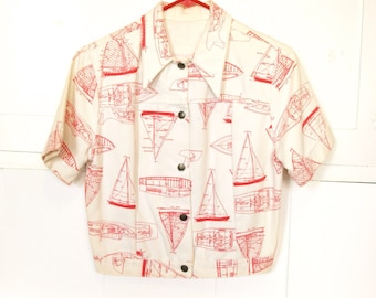 Vintage 70s red and white women's sailboat top or jacket small medium