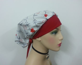 Bouffant Cap - Calling all Nurses Heart Monitor - White/Red