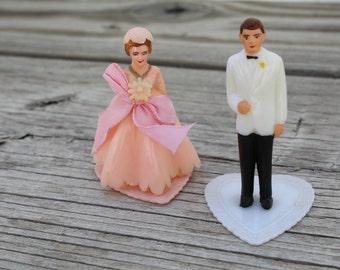 Vintage 1950's Wedding Bride & Groom Cake Toppers